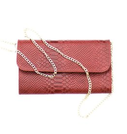 Punchy's Italian Leather Maroon Snakeskin Clutch