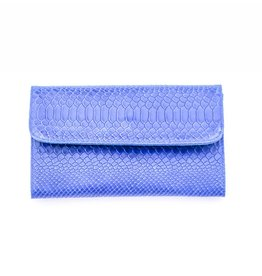 Punchy's Italian Leather Cobalt Snakeskin Clutch