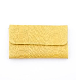 Punchy's Italian Leather Mustard Snakeskin Clutch