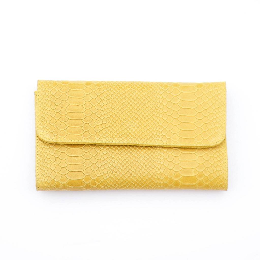 Punchy's Italian Leather Mustard Snakeskin Clutch