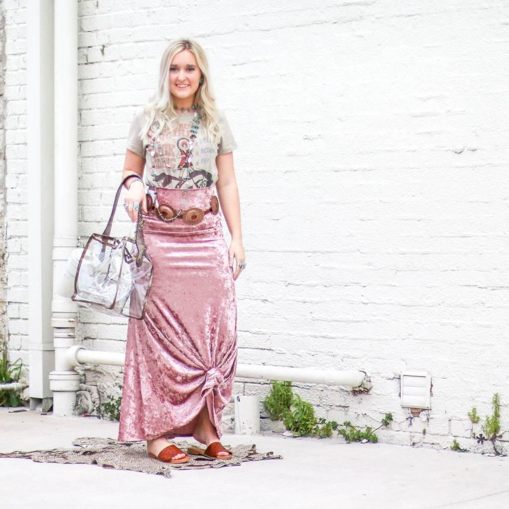 Punchy's Blush Velvet Maxi Skirt