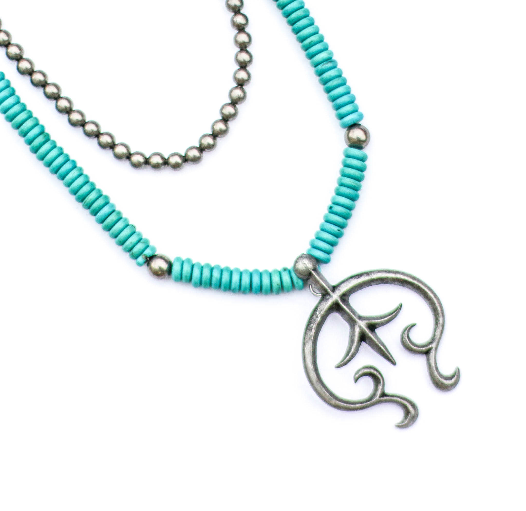 Punchy's 2 Strand Turquoise & Pewter Bead Necklace with Burnished Silver Naja Pendant