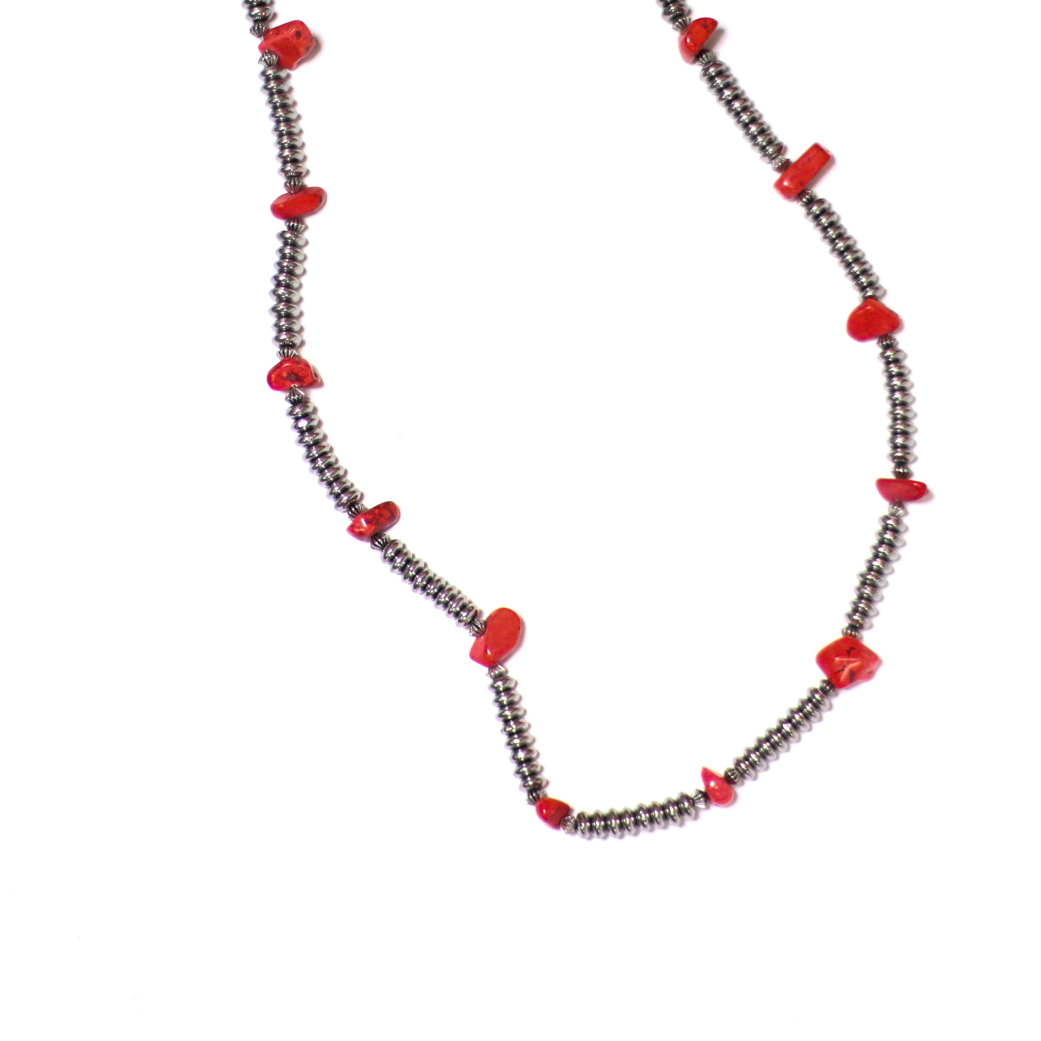 "Punchy's 32"" Silver Saucer Beaded Necklace with Red Accents"