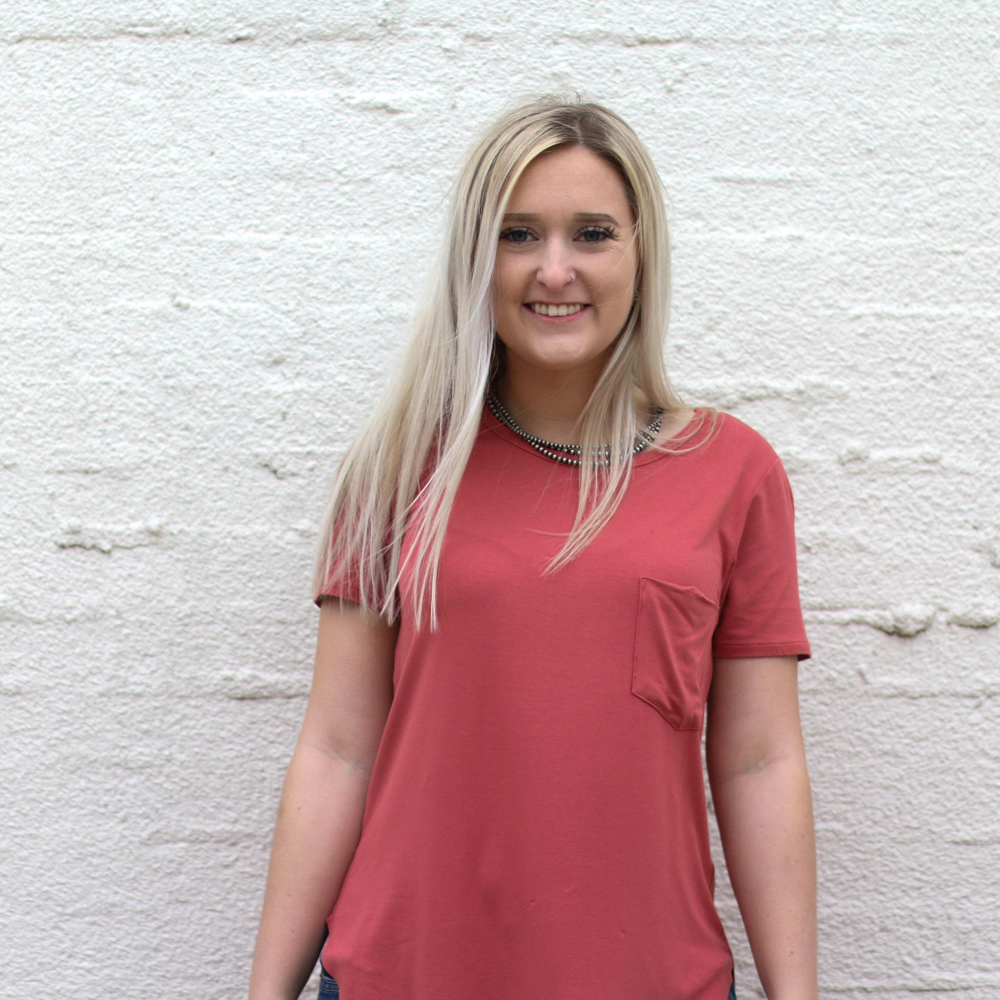 Punchy's Coral Scoop Neck Pocket Tee