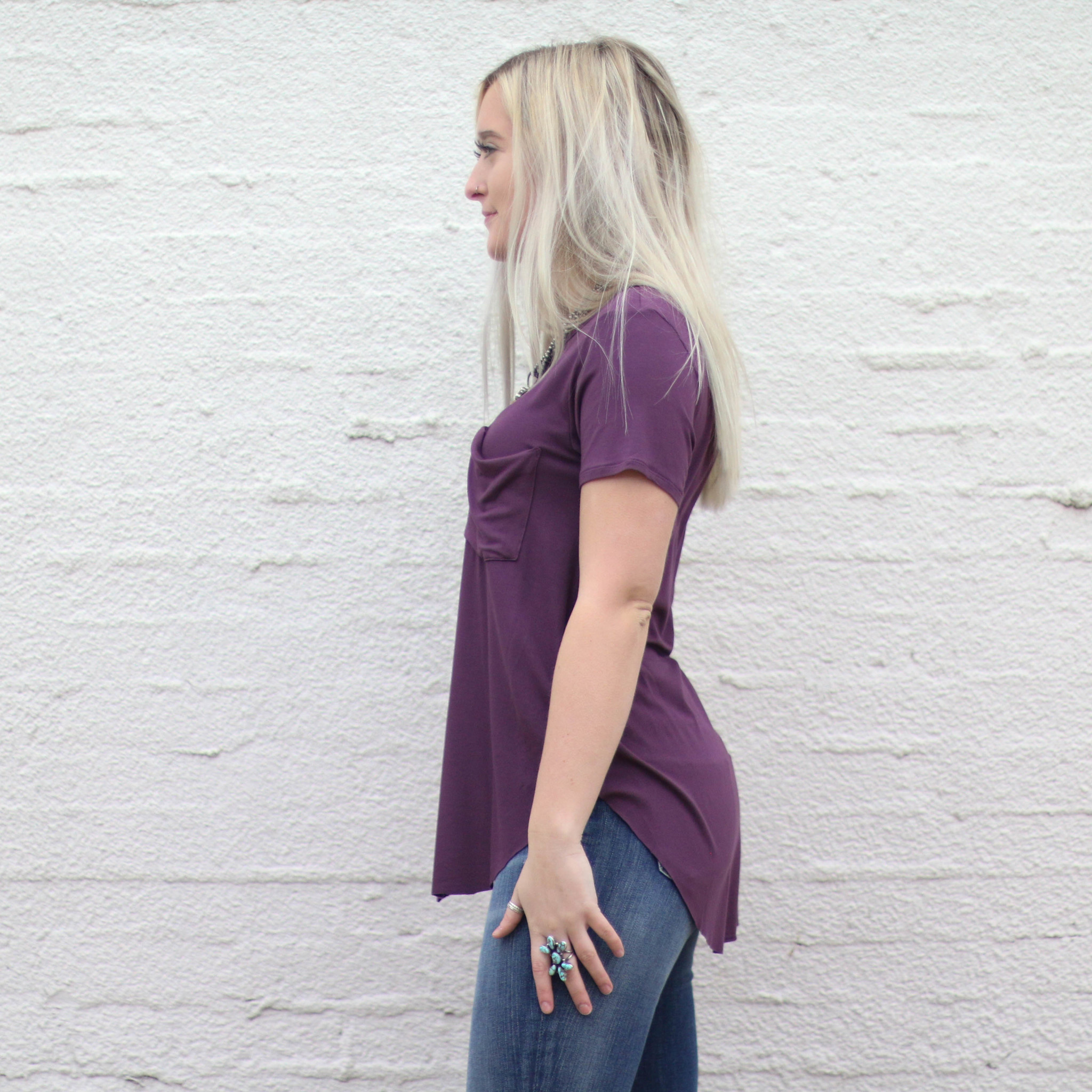 Punchy's Plum Scoop Neck Pocket Tee