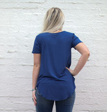 Punchy's Oxford Blue Scoop Neck Pocket Tee