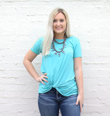 Punchy's Teal Knotted Basic Tee