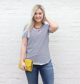Punchy's Black & White Striped Double V Neck Tee
