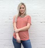 Punchy's Orange & White Striped Double V Neck Basic