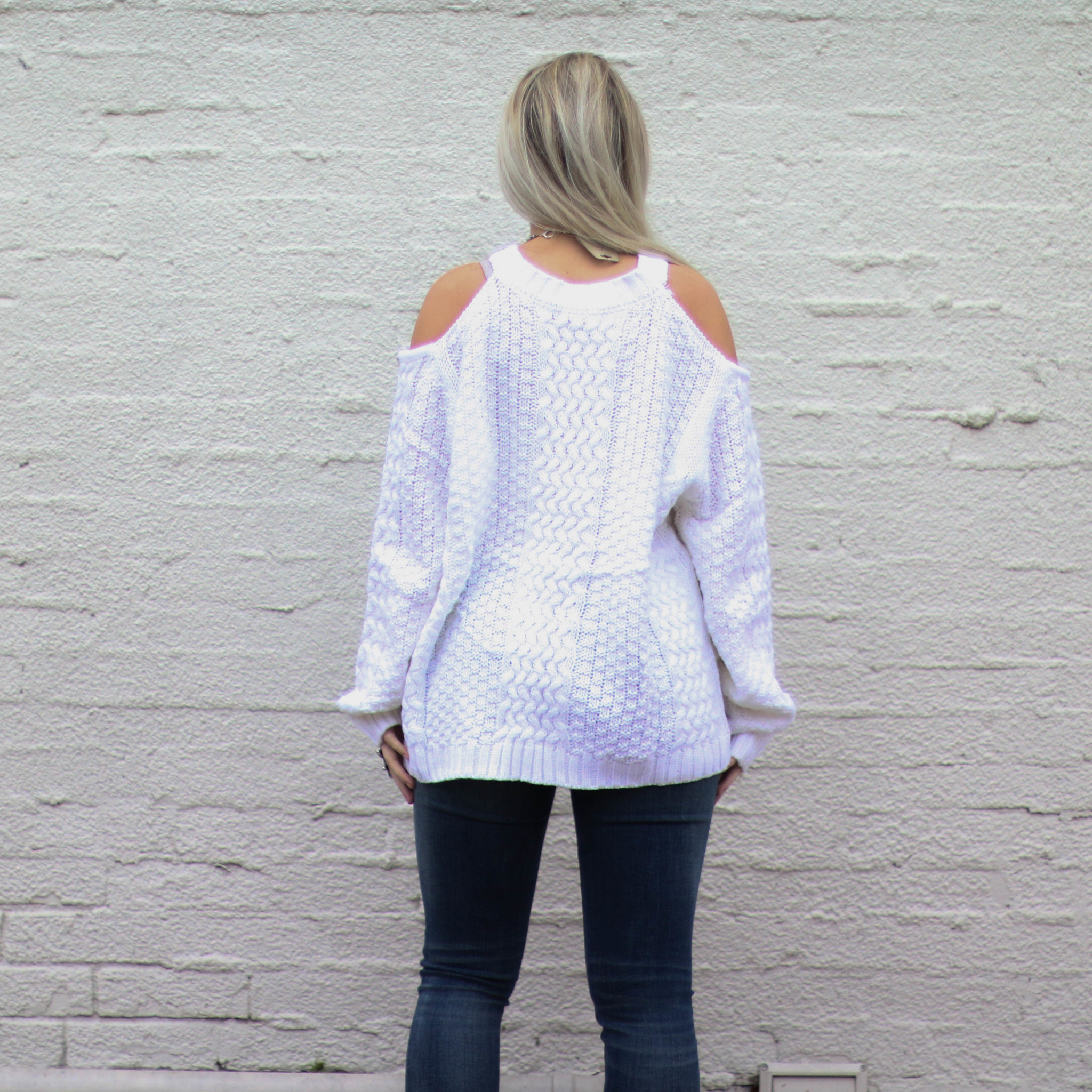 Punchy's White Cold Shoulder Sweater