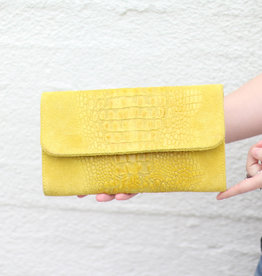 Punchy's Italian Leather Mustard Gator Clutch