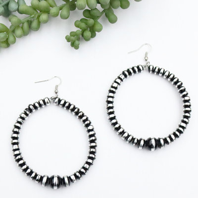 Punchy's Burnished Silver & Black Rondell Bead Dangle Hoop