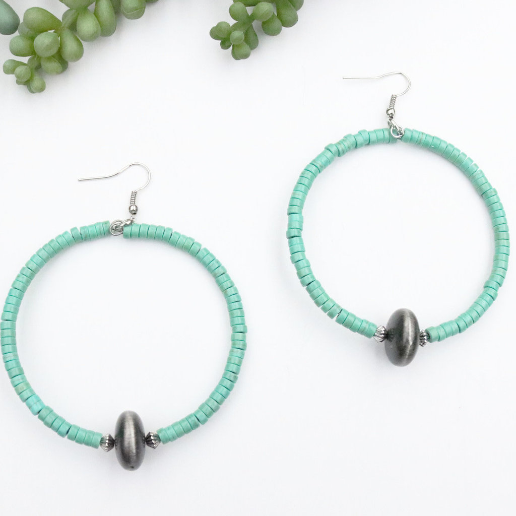 Punchy's Green Turquoise Hoop with Faux Smoke Pearl Accent