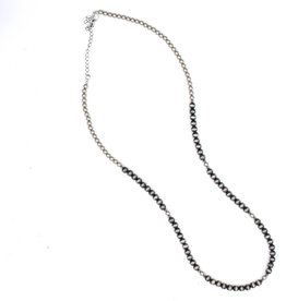"Punchy's 34"" Single Strand Faux Smoke Pearl and Silver Bead Necklace"