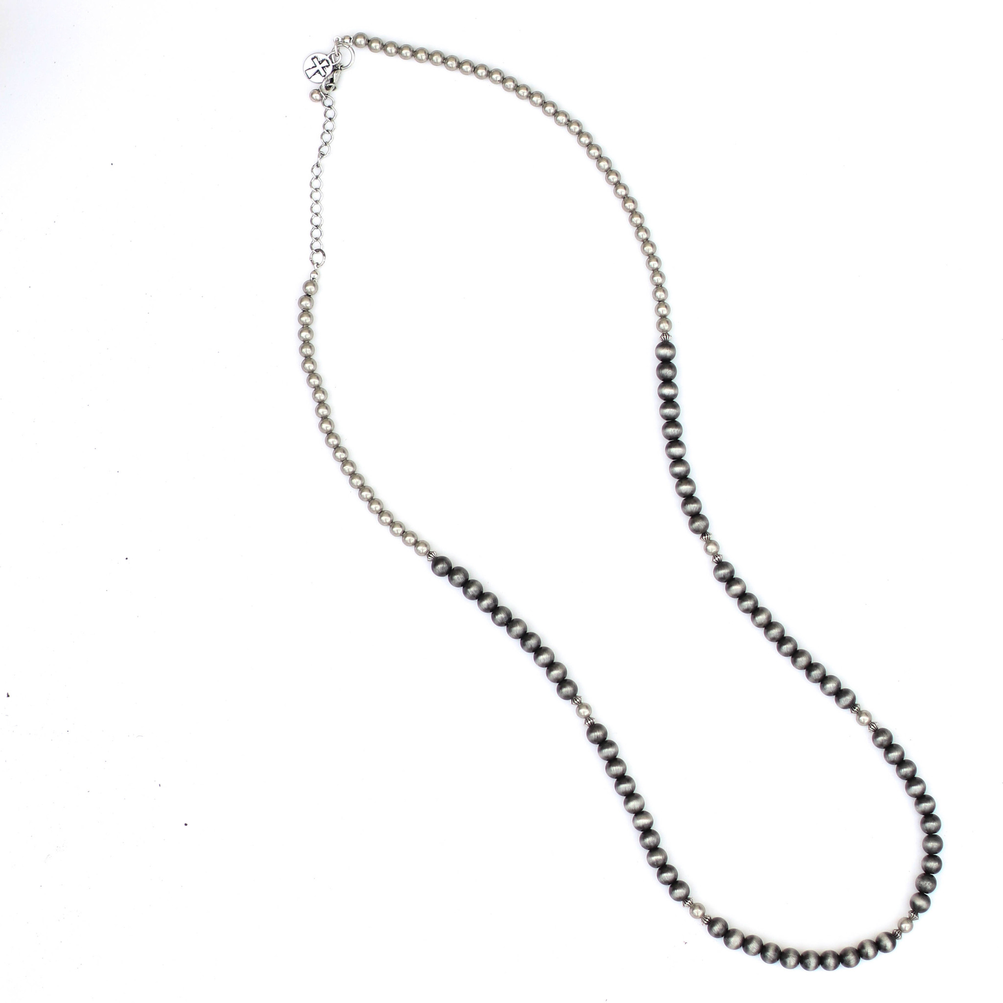 """Punchy's 34"""" Single Strand Faux Smoke Pearl and Silver Bead Necklace"""