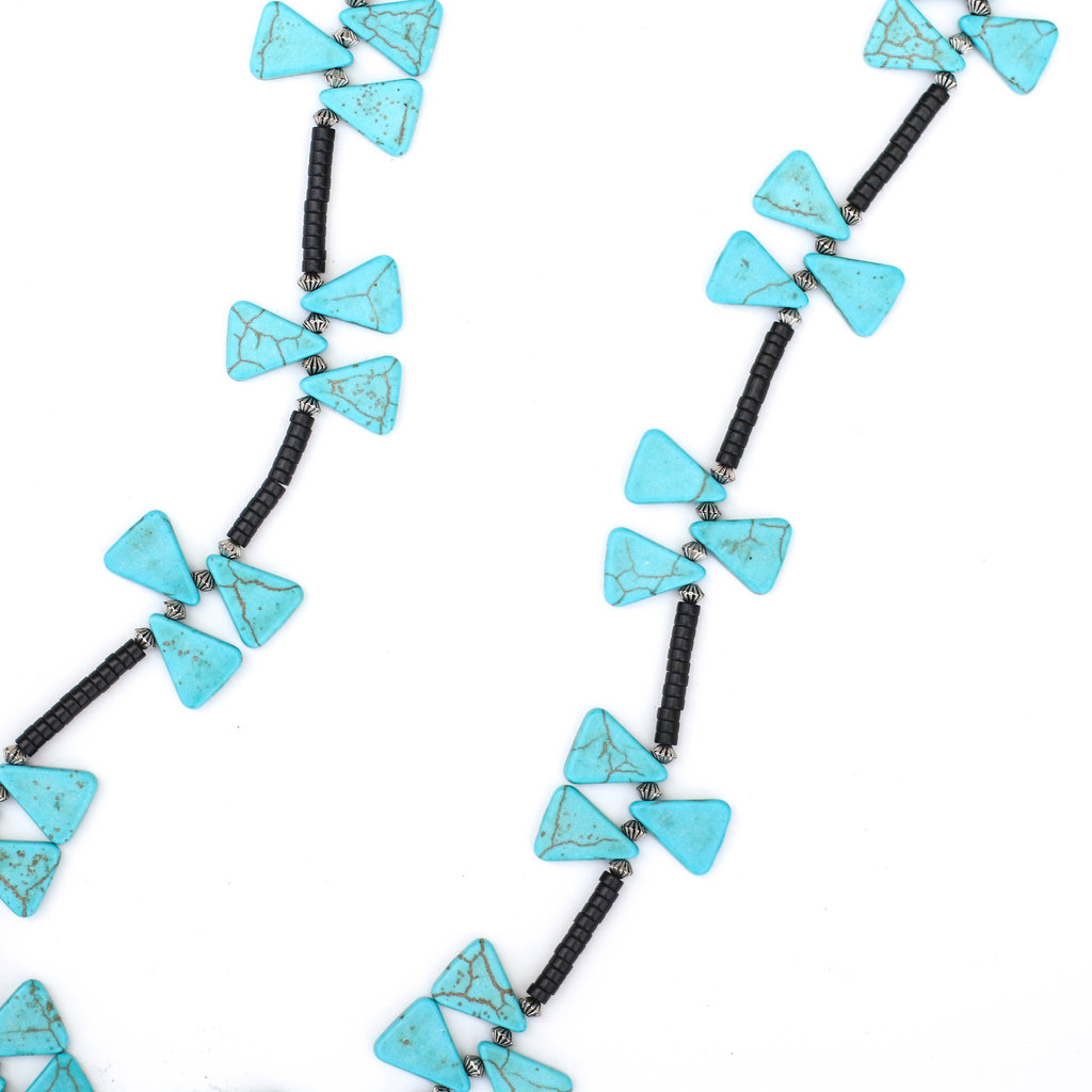 "Punchy's 30"" Black Beaded Necklace with Alternating Triangular Turquoise Beads"