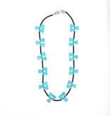 """Punchy's 30"""" Black Beaded Necklace with Alternating Triangular Turquoise Beads"""