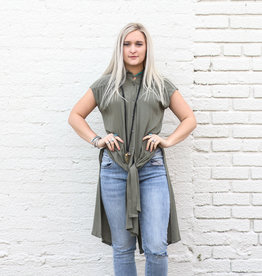 Punchy's Olive Collared Front Tie Top