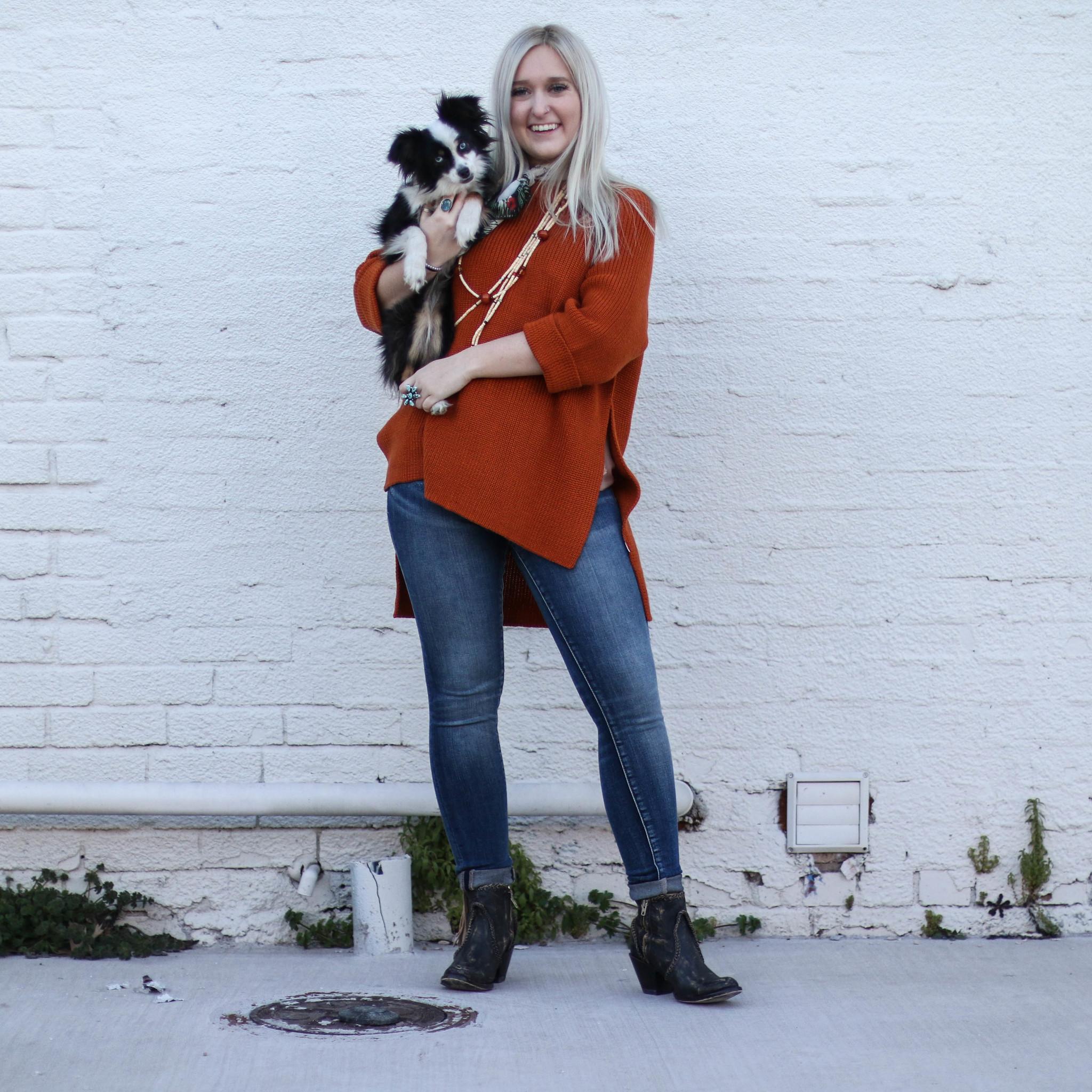 Punchy's Orange Side Slit Sweater