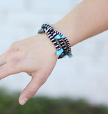 Punchy's Burnished Silver Rondell with Turq Bracelet