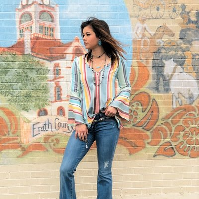 Punchy's Serape Bell Sleeve Blouse SMALL