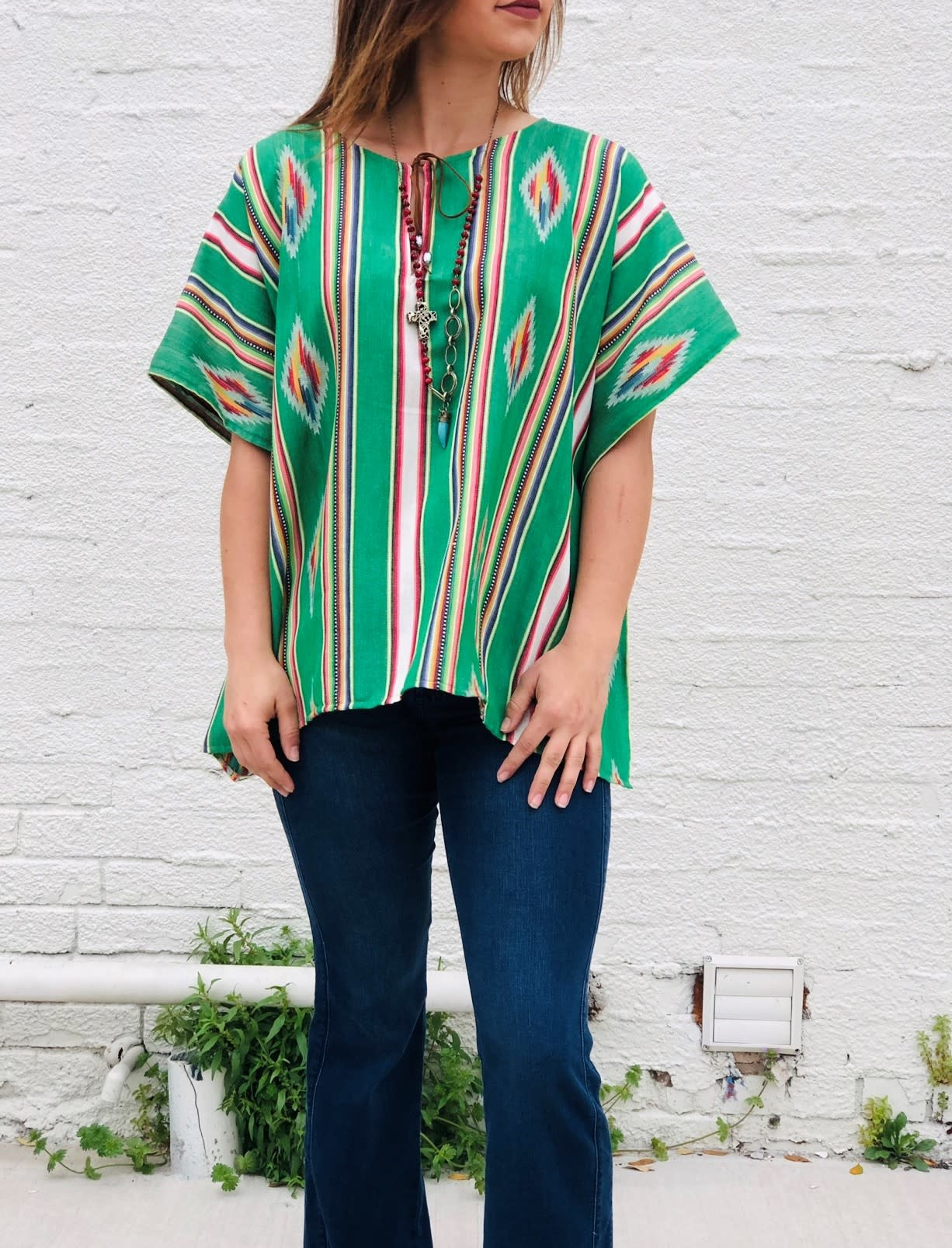 Punchy's Tribal Green Poncho Blouse
