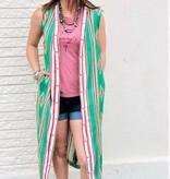 Punchy's Tribal Green Sleeveless Duster