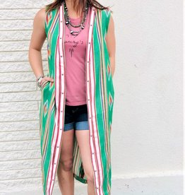 Punchy's Tribal Green Sleeveless Duster