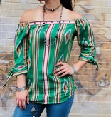 Punchy's Tribal Off-Shoulder Top