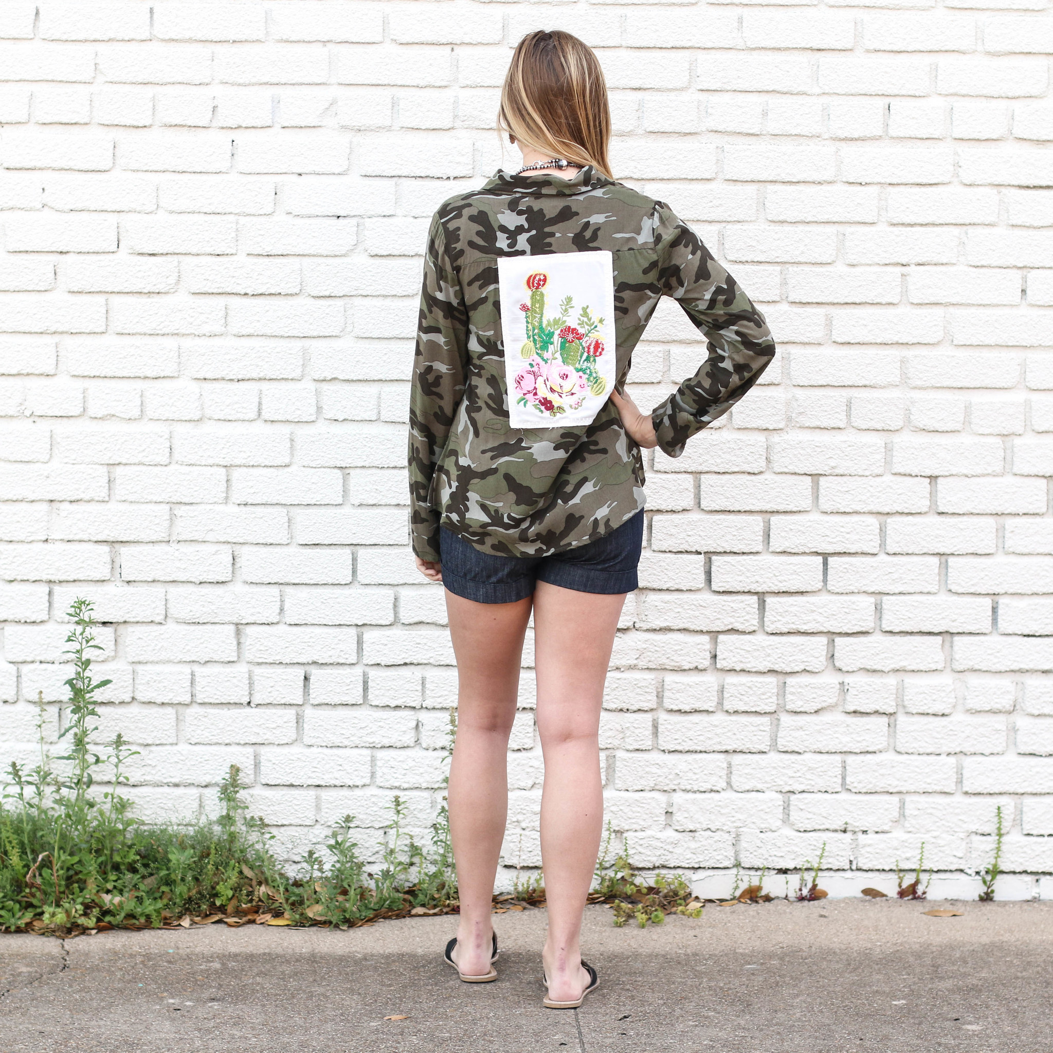 Punchy's Camo Button Down with Floral Patch