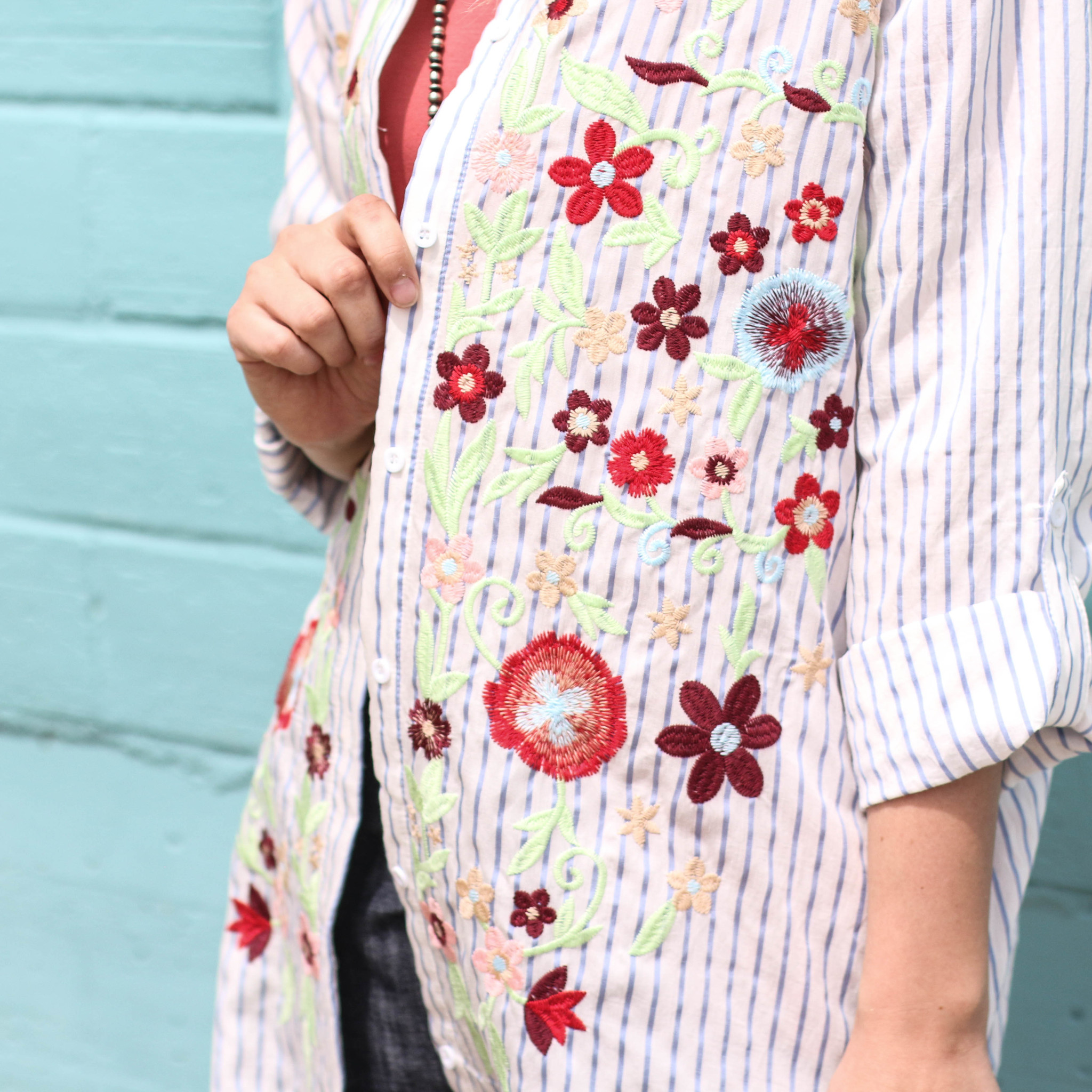 Punchy's Embroidered Pinstripe Dress