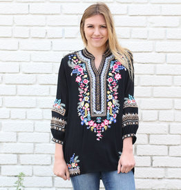 Punchy's Embroidered Black Blouse