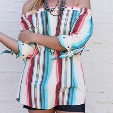 Punchy's Navajo White Off the Shoulder Top