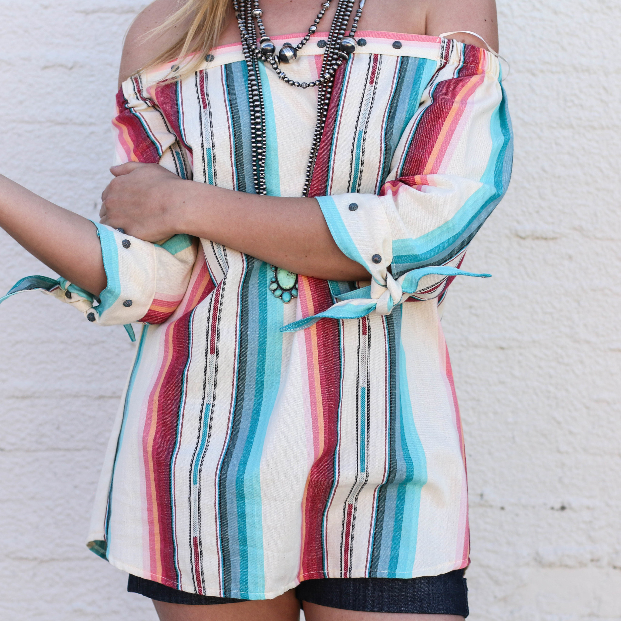 Punchy's Navajo White Off-Shoulder Top