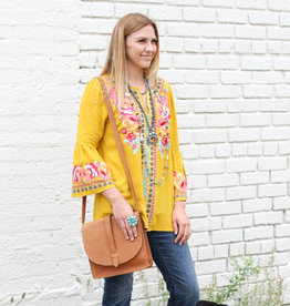 Punchy's Mustard Embroidered Bell Sleeve