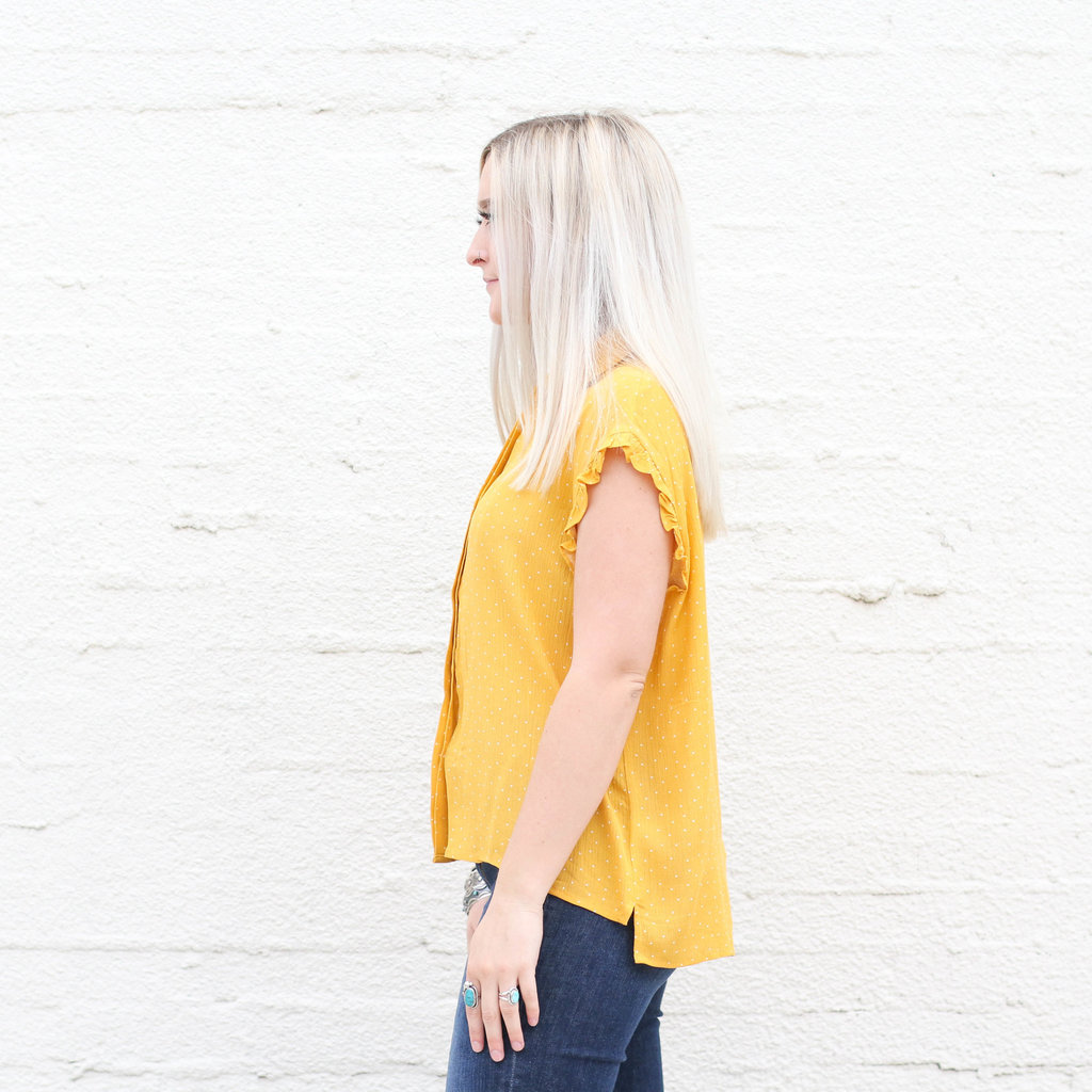 Punchy's Yellow Polka Dot Ruffle Sleeve Top