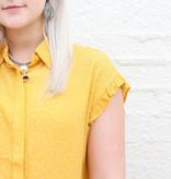 Punchy's Yellow Polka Dot Ruffle Sleeve Top