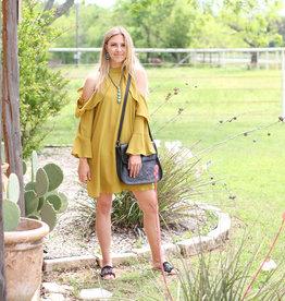 Punchy's Mustard Ruffle Cold Shoulder Dress