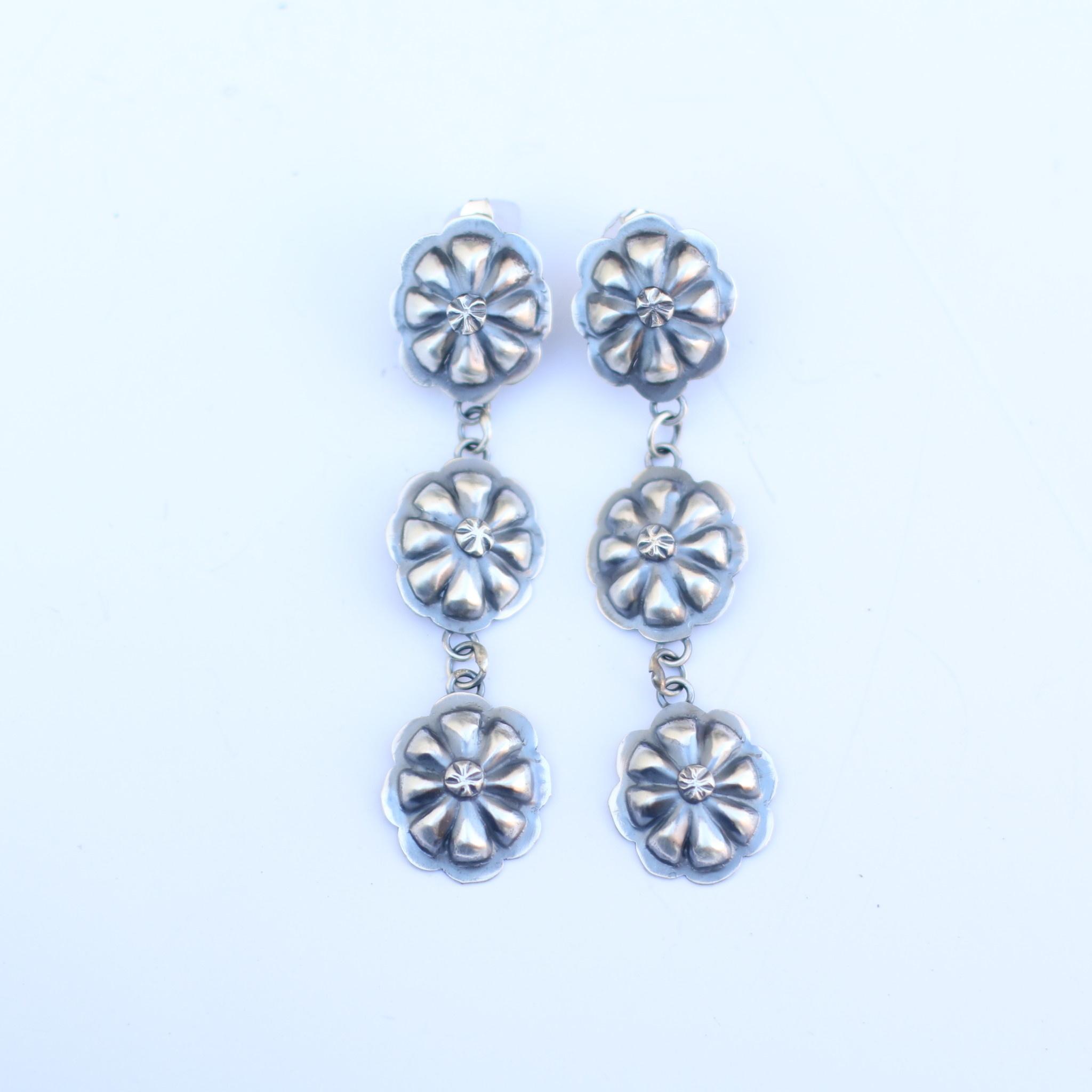 Triple Flower Concho Earring