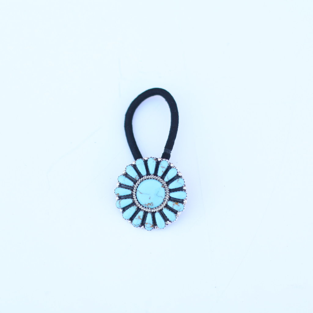 Punchy's Turquoise Flower Concho Hair Tie