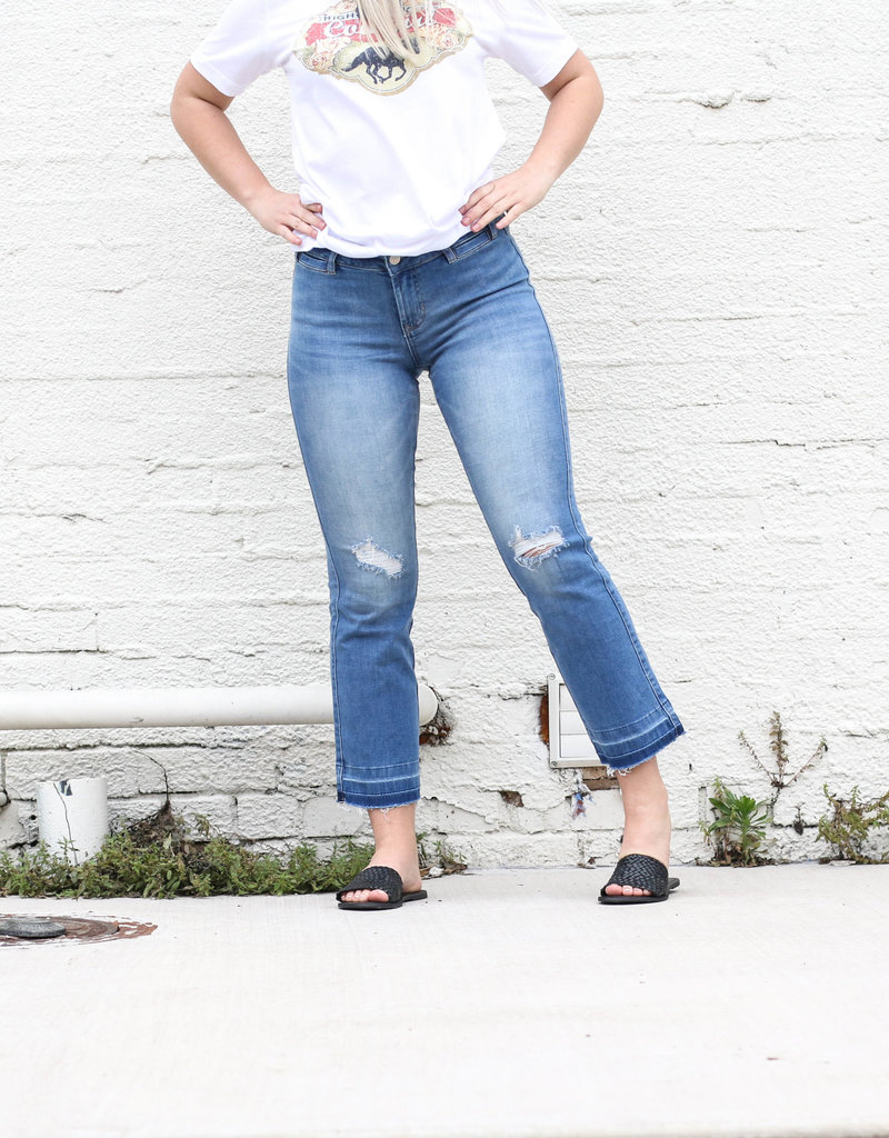Punchy's Distressed Raw Hem Cropped Flare