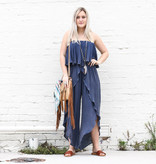 Punchy's Navy Washed Ruffle Jumpsuit