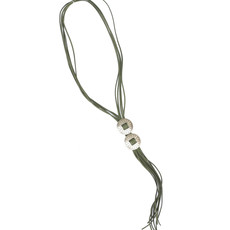 Punchy's Adjustable Worn Silver Double Concho Bolo Tie Necklace with Olive Leather