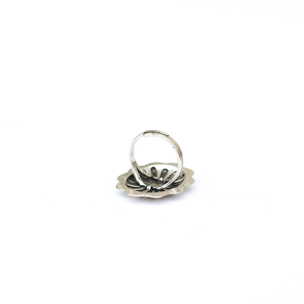 Punchy's Large Burnished Silver Adjustable Concho Ring