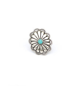 Punchy's Large Burnished Silver Adjustable Concho Ring with Turquoise Stone