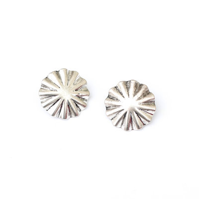 Punchy's Burnished Silver Burst Concho Stud Earring