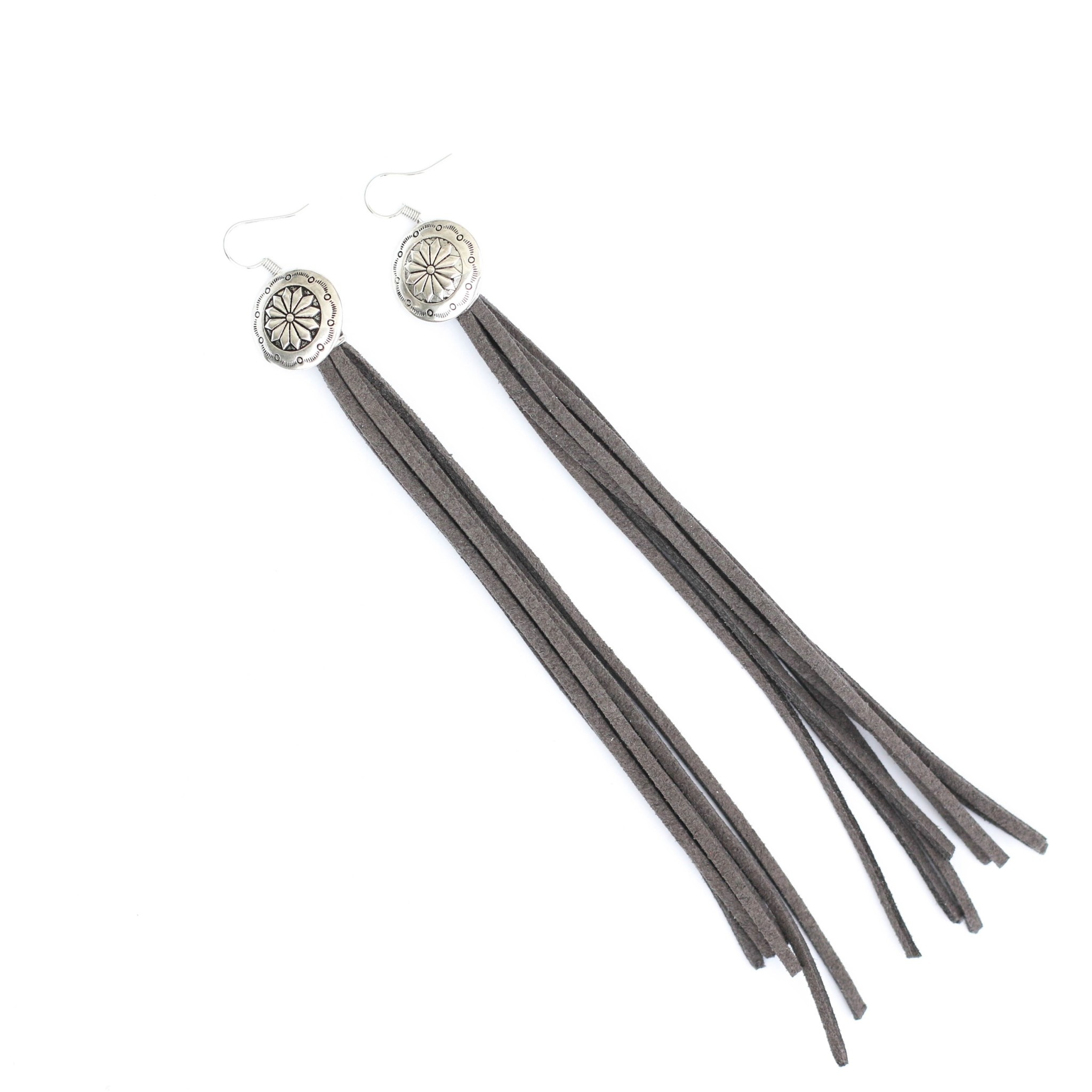 Punchy's Burnished Silver Concho with Grey Leather Tassel Earring