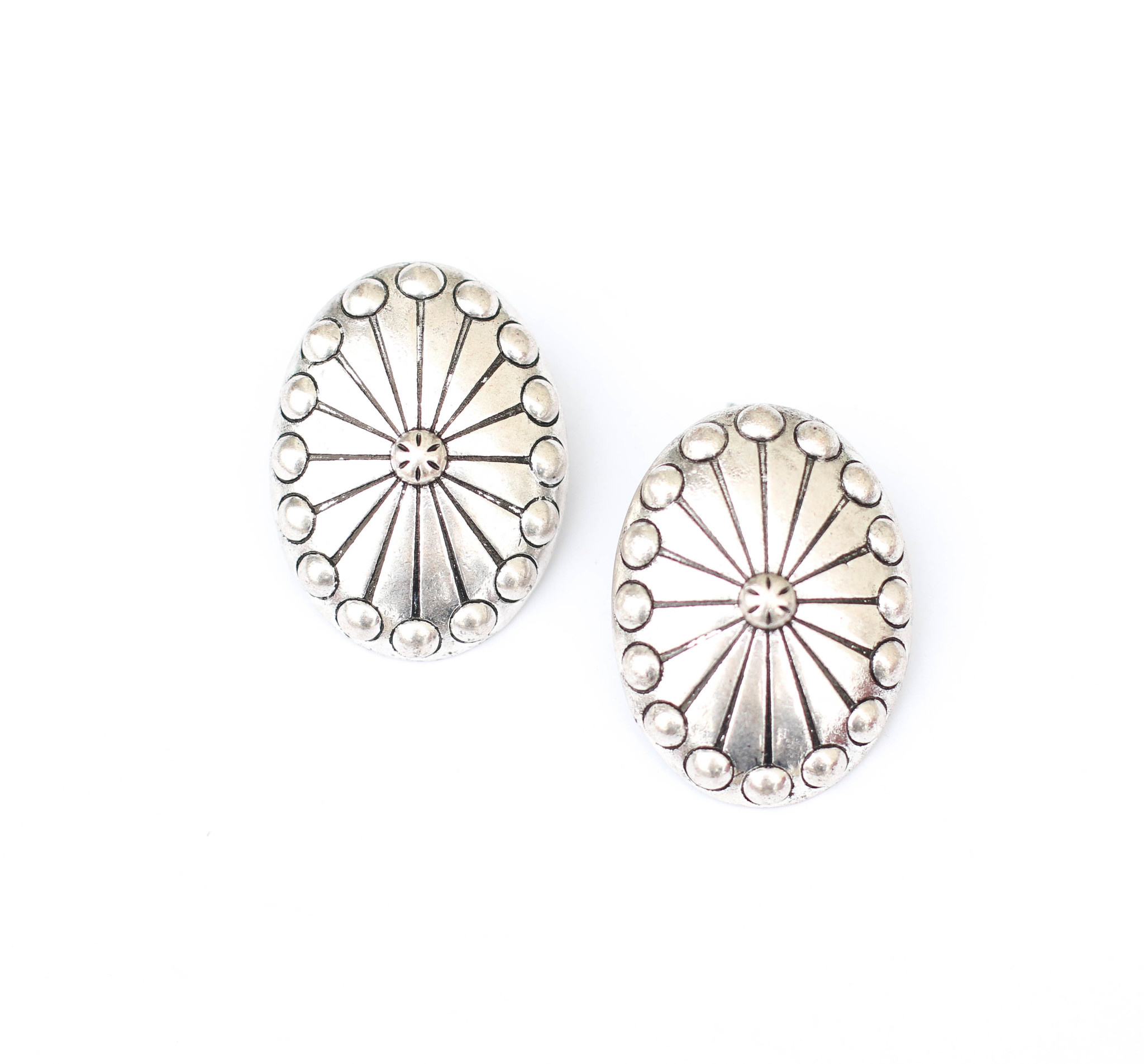 Punchy's Burnished Silver Studded Concho Post Earring
