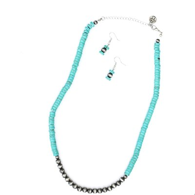 Punchy's Turquoise and Faux Navajo Pearl Necklace Set
