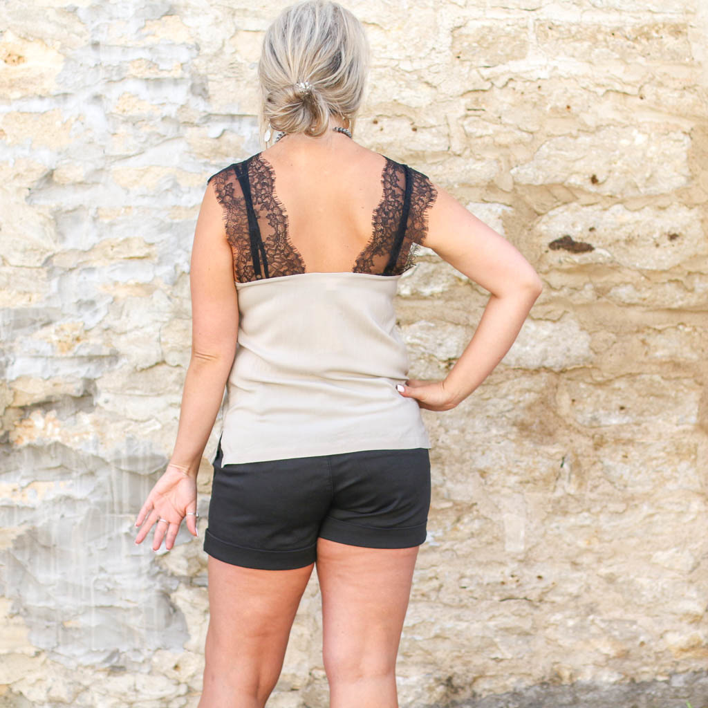 Punchy's Black Lace Taupe Cami